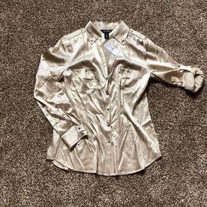 Cream shinny long sleeve button down shirt